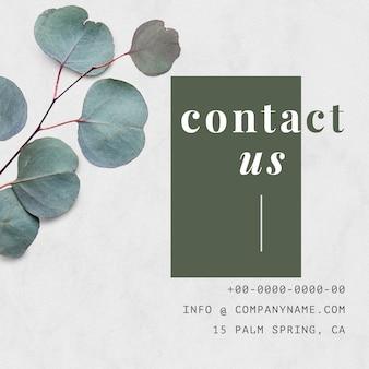Vector de plantilla de diseño de banner natural de contacto de empresa