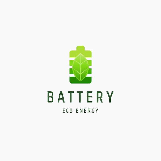 Vector de plantilla de diseño de icono de logotipo de batería y hoja eco naturaleza energía