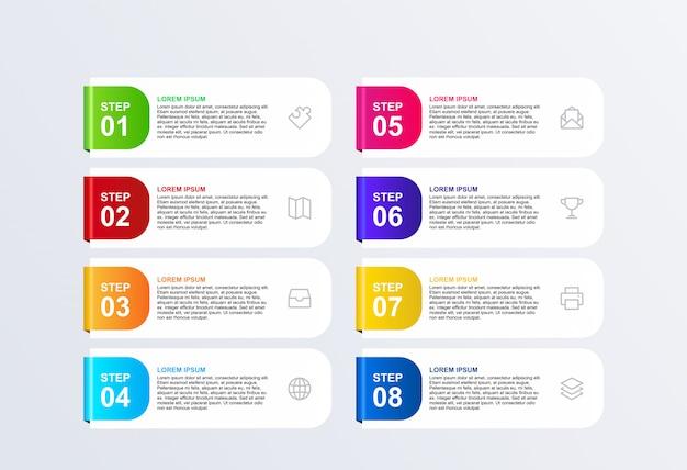 Vector de plantilla de diseño de infografía 3d banner 8 opciones
