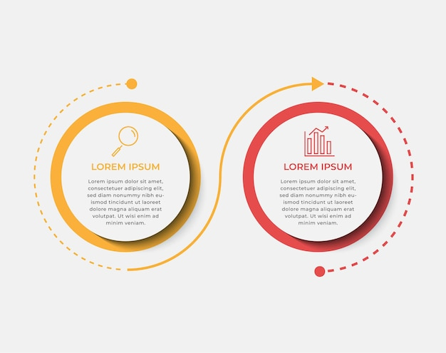Vector de plantilla de diseño de infografía empresarial con iconos y 2 dos opciones o pasos. se puede utilizar para diagramas de procesos, presentaciones, diseño de flujo de trabajo, pancartas, diagramas de flujo, gráficos de información