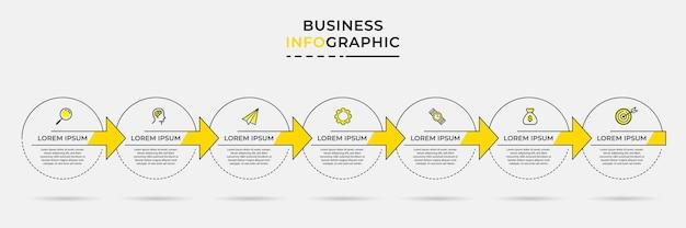Vector de plantilla de diseño de infografía empresarial con iconos y 7 siete opciones o pasos
