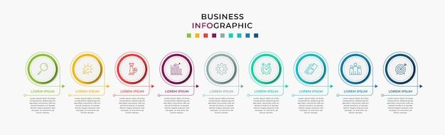 Vector de plantilla de diseño de infografía empresarial con iconos y 9 nueve opciones o pasos