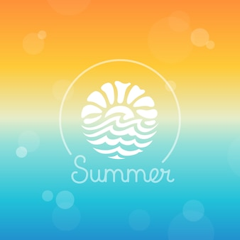 Vector plantilla de diseño de logotipo abstracto - sol y mar