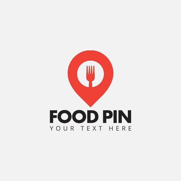 Vector de plantilla de diseño de logotipo de pin de comida aislado