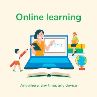 Vector de plantilla editable de aprendizaje en línea para publicaciones en redes sociales educación en la nueva normalidad