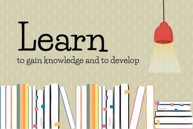 Vector de plantilla de educación con libros y lámpara de techo