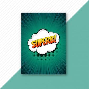 Vector de plantilla de folleto de cómic verde arte pop