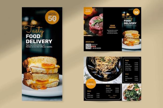 Vector de plantilla de folleto de entrega de alimentos