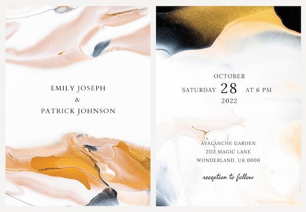 Vector de plantilla de invitación de boda de mármol en estilo estético