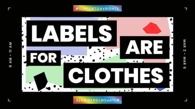 El vector de plantilla lgbtq con etiquetas es para cotización de ropa para banner de blog
