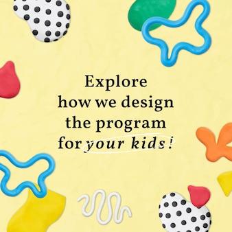 Vector de plantilla linda de educación infantil con anuncio de redes sociales de patrón de arte creativo