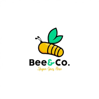 Vector de plantilla de logotipo de abeja