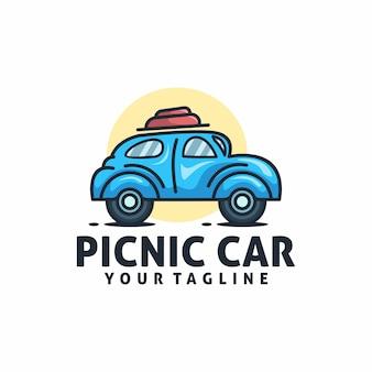 Vector de plantilla de logotipo de coche de picnic