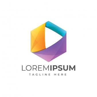 Vector de plantilla de logotipo colorido play media
