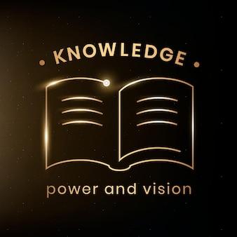 Vector de plantilla de logotipo de educación de conocimiento con gráfico de audiolibro