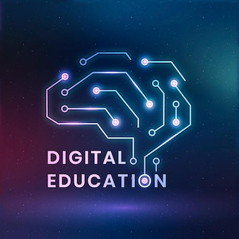 Vector de plantilla de logotipo de educación digital con gráfico de cerebro ai