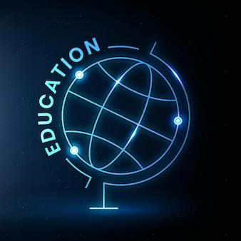 Vector de plantilla de logotipo de educación de geografía con gráfico de ciencia de globo