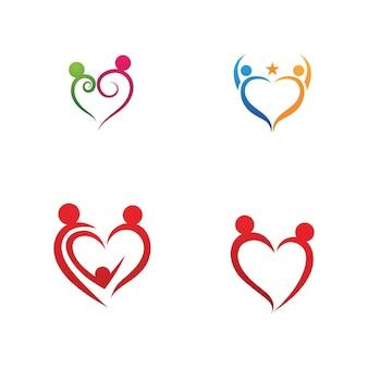 Vector de plantilla de logotipo y símbolo de cuidado familiar