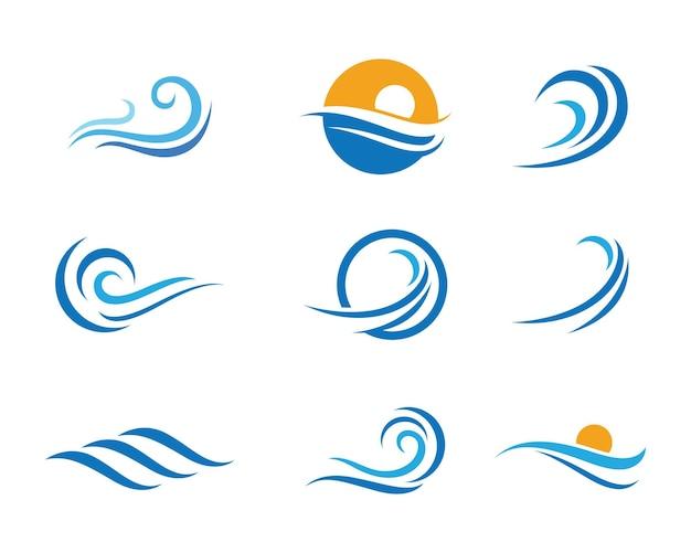Vector de plantilla de logotipo de símbolo e icono de onda de agua