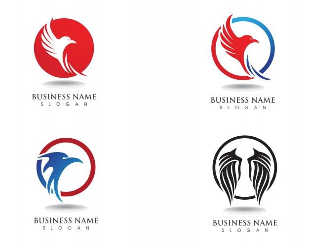 Vector de plantilla de logotipo y símbolos de halcón de ala de águila