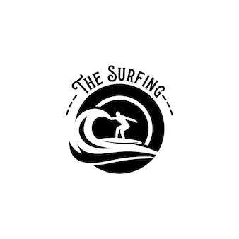 Vector de plantilla de logotipo de surf. vector de concepto de logotipo de surf