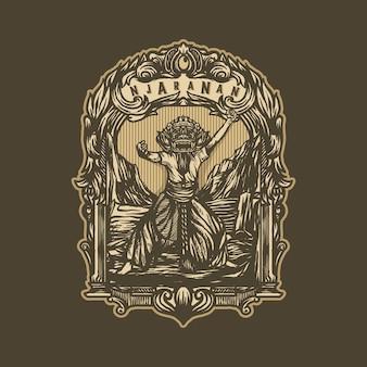 Vector de plantilla de logotipo vintage de arte indonesio