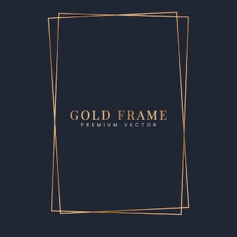 Vector de plantilla de marco de rectángulo de oro