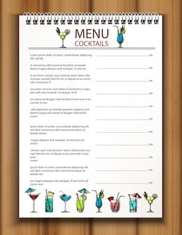 Vector plantilla de menú de bebidas de bar y restaurante con colección colorida dibujada a mano de cócteles en la madera.