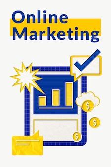 Vector de plantilla de negocio de marketing en línea con gráfico de tablero de gráfico de barras