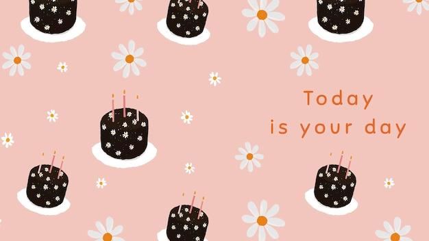Vector de plantilla de pastel de cumpleaños con dibujos para banner de blog hoy es tu día