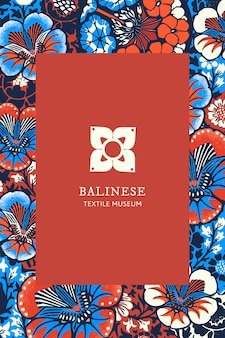 Vector de plantilla de patrón floral batik para logotipo de marca, remezclado de obras de arte de dominio público