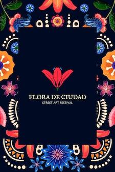 Vector de plantilla de patrón floral mexicano para logotipo de marca