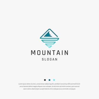 Vector de plantilla plana de diseño de icono de logotipo de mar de montaña
