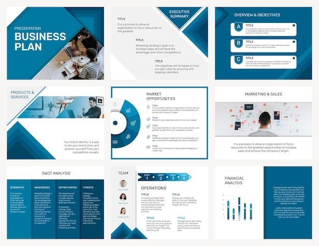 Vector de plantilla de presentación de negocios editable en conjunto de diseño moderno