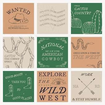 Vector de plantilla de redes sociales con temática de vaquero con colección de texto editable