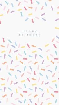 Vector de plantilla de saludo de cumpleaños en línea con fondo de espolvorear confeti