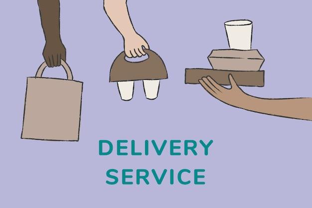 Vector de plantilla de servicio de entrega en estilo doodle