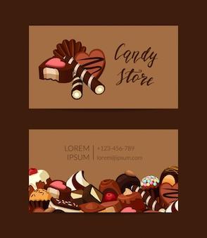 Vector la plantilla de la tarjeta de visita con los caramelos dulces del chocolate de la historieta para el ejemplo de la tienda de pasteles
