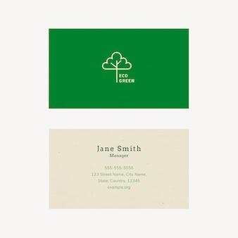 Vector de plantilla de tarjeta de visita ecológica con logotipo de arte lineal en tono tierra