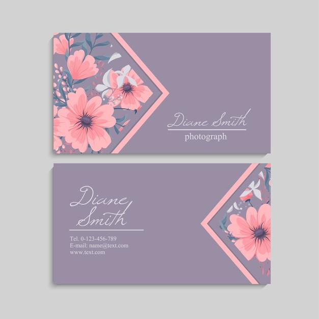 Vector de plantilla de tarjeta de visita de estilo floral
