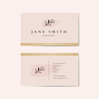 Vector de plantilla de tarjeta de visita rosa mínima