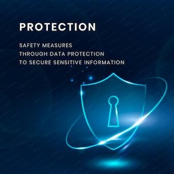 Vector de plantilla de tecnología de protección de datos con icono de escudo de bloqueo