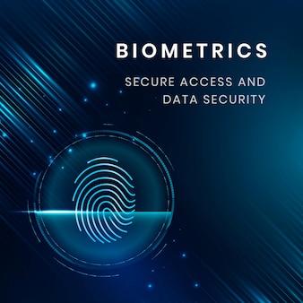 Vector de plantilla de tecnología de seguridad biométrica con escaneo de huellas dactilares
