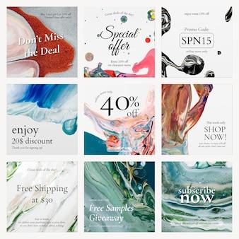 Vector de plantilla de venta de arte de mármol para la colección de anuncios de redes sociales