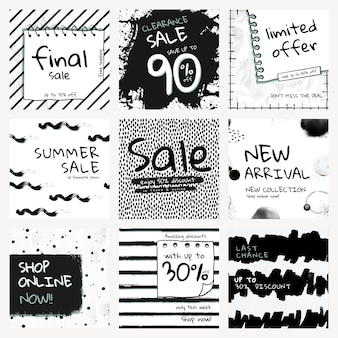 Vector de plantilla de venta editable con conjunto de patrones de pincel de tinta