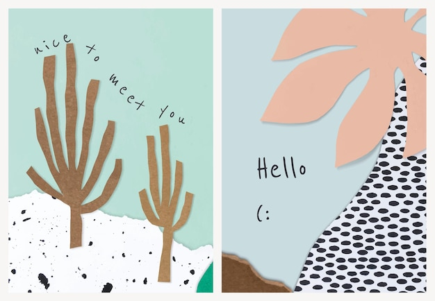 Vector de plantillas de collage de papel estético para tarjeta de invitación