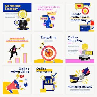 Vector de plantillas de marketing en redes sociales para medios remezclados de negocios de comercio electrónico compatibles con la colección ai