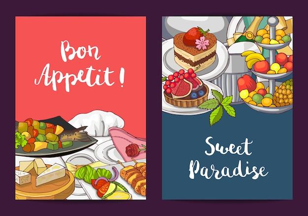 Vector plantillas de tarjeta o folleto con mano dibujado restaurante o elementos de servicio de habitación y lugar para la ilustración de texto