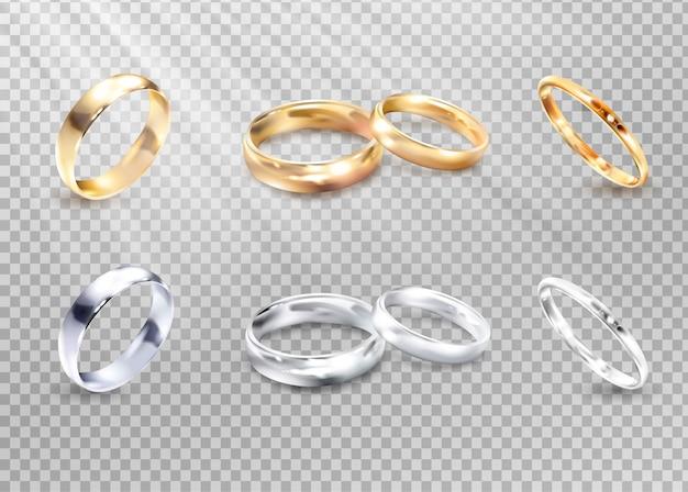 Vector de plata de lujo y anillos de boda de oro.