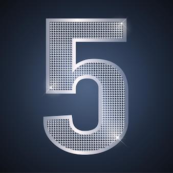 Vector plata número cinco 5 con brillantes para celebración de aniversario o cumpleaños de quinto año